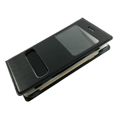 Case 4U Apple İphone 6S Plus Pencereli Kapaklı Kılıf Siyah
