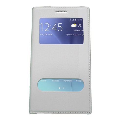 Case 4U Samsung Galaxy J7 Gizli Mıknatıslı Kapaklı Kılıf Beyaz