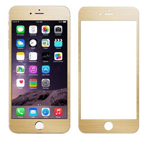 Case 4U Apple İphone 6S Alüminyum Metal Kenarlı Cam Ekran Koruyucu-Altın