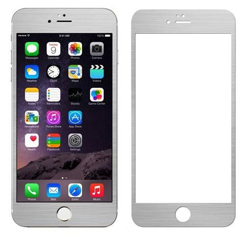 Case 4U Apple İphone 6S Alüminyum Metal Kenarlı Cam Ekran Koruyucu-Gümüş