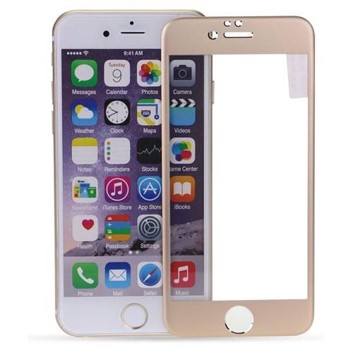 Case 4U Apple İphone 6S Titanyum Metal Kenarlı Cam Ekran Koruyucu-Altın