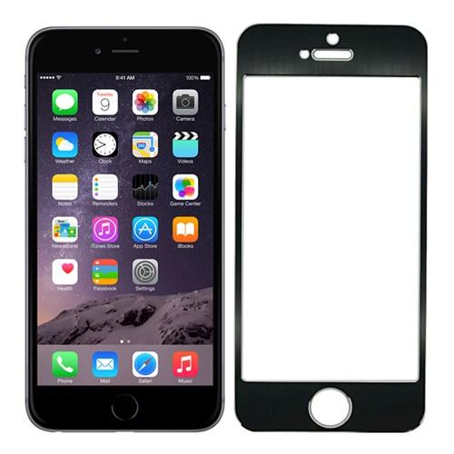 Case 4U Apple İphone 6S Plus Alüminyum Metal Kenarlı Cam Ekran Koruyucu-Siyah
