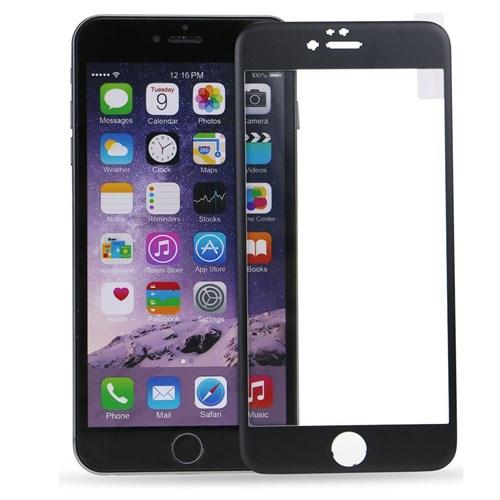 Case 4U Apple İphone 6S Plus Titanyum Metal Kenarlı Cam Ekran Koruyucu-Siyah