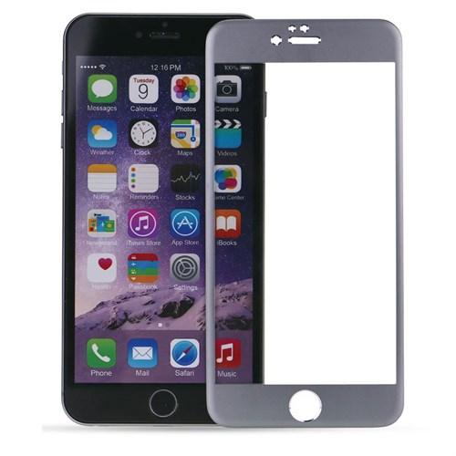 Case 4U Apple İphone 6S Plus Titanyum Metal Kenarlı Cam Ekran Koruyucu-Gümüş