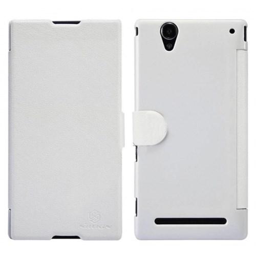Nillkin Sony Xperia T2 Ultra Kılıf Fresh Kapaklı Flip Cover Beyaz