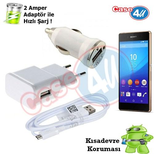 Case 4U Sony Xperia Z3 3İn1 Ev Ve Araç Şarj Seti