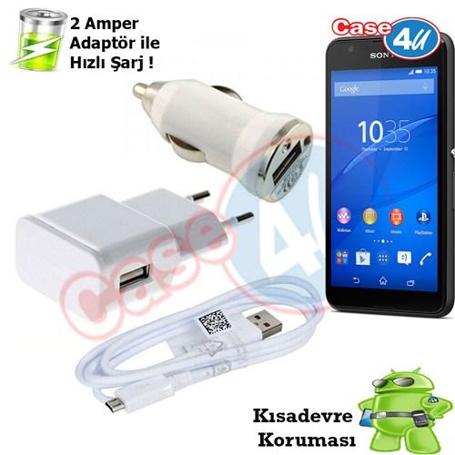 Case 4U Sony Xperia E4g 3İn1 Ev Ve Araç Şarj Seti