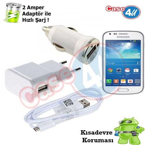 Case 4U Samsung Galaxy Trend Plus 3İn1 Ev Ve Araç Şarj Seti