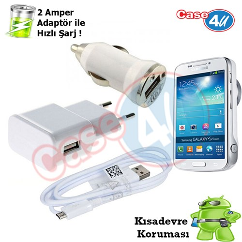 Case 4U Samsung Galaxy S4 Zoom 3İn1 Ev Ve Araç Şarj Seti