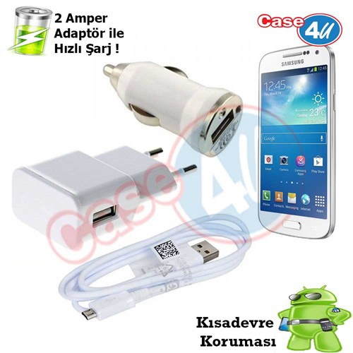 Case 4U Samsung Galaxy S4 Mini 3İn1 Ev Ve Araç Şarj Seti