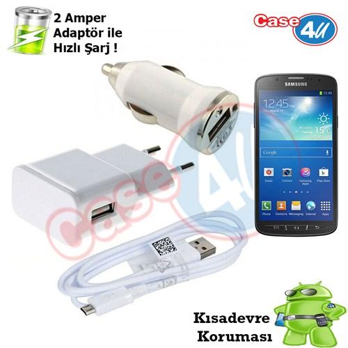Case 4U Samsung Galaxy S4 Active İ9225 3İn1 Ev Ve Araç Şarj Seti