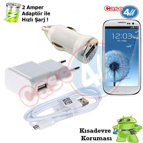 Case 4U Samsung Galaxy S3 3İn1 Ev Ve Araç Şarj Seti