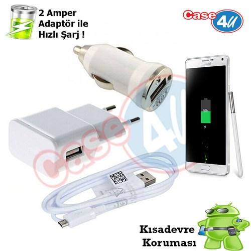 Case 4U Samsung Galaxy Note 4 3İn1 Ev Ve Araç Şarj Seti