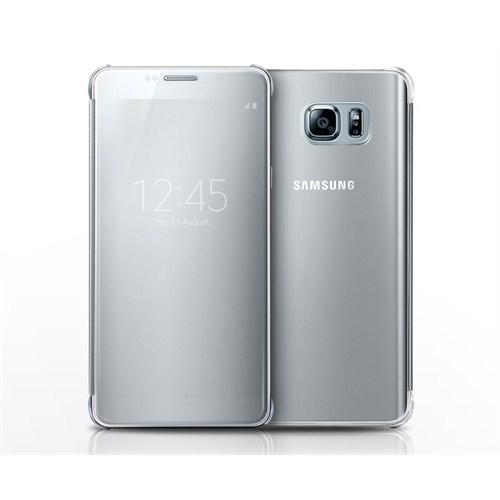 Kılıfshop Samsung Galaxy Note 5 Clear View Cover Gümüş
