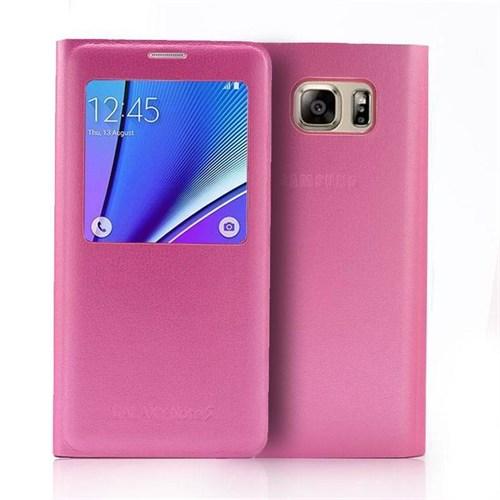 Kılıfshop Samsung Galaxy Note 5 S View Cover Pembe