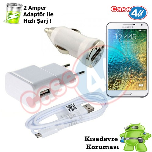 Case 4U Samsung Galaxy E7 3İn1 Ev Ve Araç Şarj Seti
