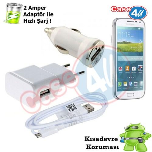 Case 4U Samsung Galaxy K Zoom(S5 Zoom) 3İn1 Ev Ve Araç Şarj Seti
