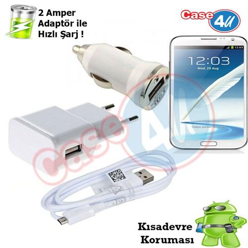 Case 4U Samsung Galaxy Note 2 3İn1 Ev Ve Araç Şarj Seti
