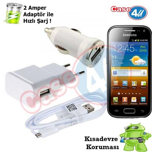 Case 4U Samsung Galaxy Ace 2 İ8160 3İn1 Ev Ve Araç Şarj Seti