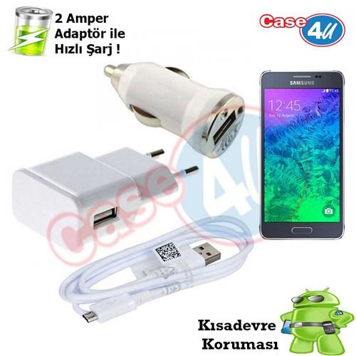 Case 4U Samsung Galaxy Alpha 3İn1 Ev Ve Araç Şarj Seti