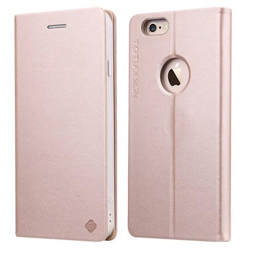 TotuDesign Apple iPhone 6S Side Leather Standlı Kılıf Gold Book Series