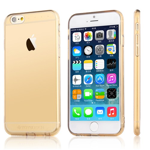 TotuDesign Apple iPhone 6S Kılıf Gold Soft Series Transparant Thin