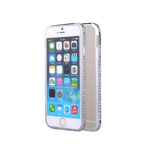 Microsonic İphone 6S Plus Taşlı Metal Bumper Kılıf Gümüş