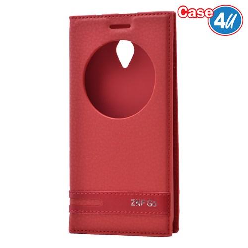 Case 4U Asus Zenfone Go Pencereli Kapaklı Kırmızı