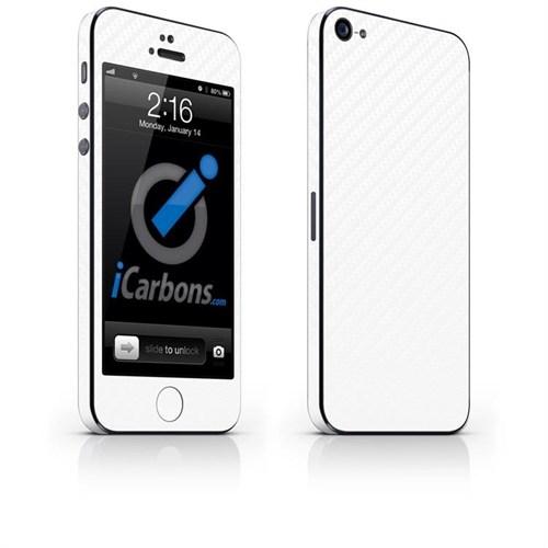 iCarbons Apple iPhone 5 Tek Renk / 3M Beyaz Karbon Fiber Kılıf