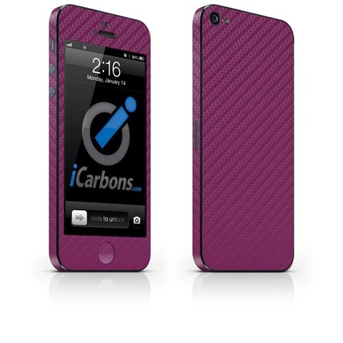 iCarbons Apple iPhone 5 Tek Renk / 3M Mor Karbon Fiber Kılıf