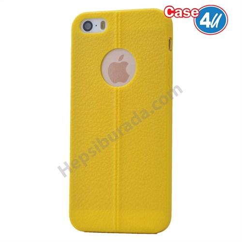 Case 4U Apple İphone 5S Desenli Silikon Kılıf Sarı
