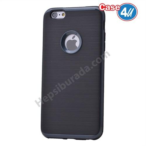 Case 4U Apple İphone 6S Korumalı Arka Kapak Parlak Siyah