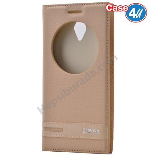 Case 4U Asus Zenfone Go Pencereli Kapaklı Altın