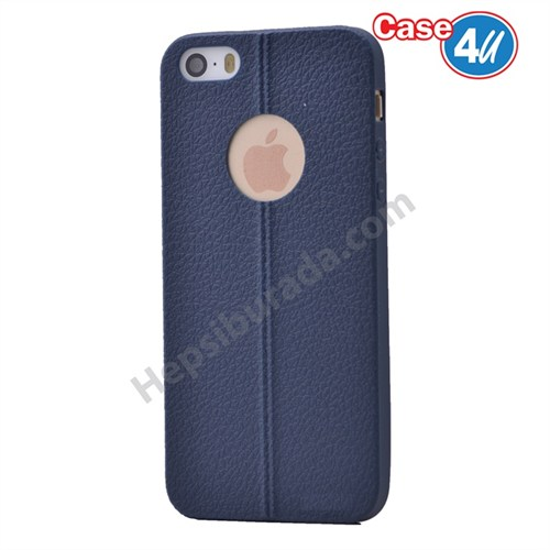 Case 4U Apple İphone 5S Desenli Silikon Kılıf Lacivert