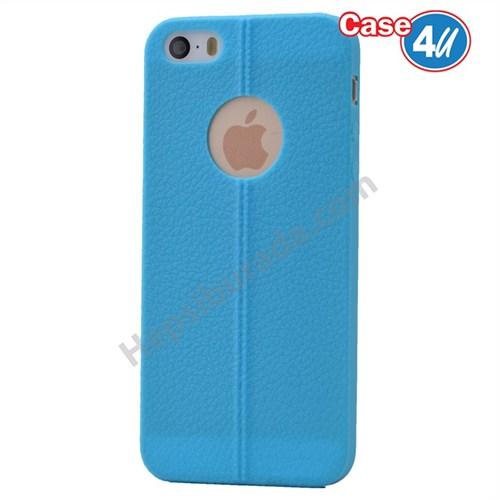 Case 4U Apple İphone 5S Desenli Silikon Kılıf Mavi