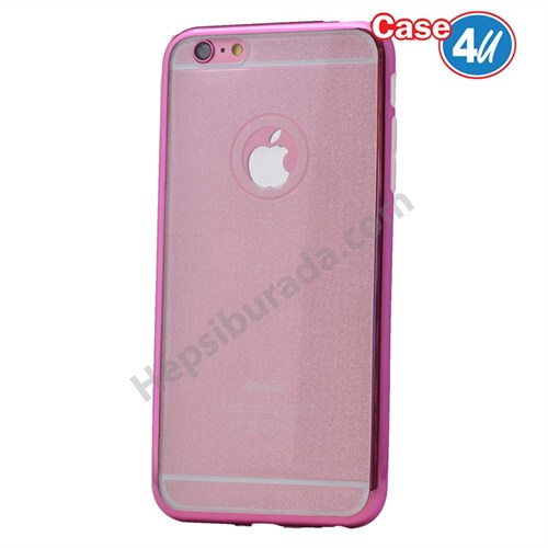 Case 4U Apple İphone 6 Simli Silikon Kılıf Pembe