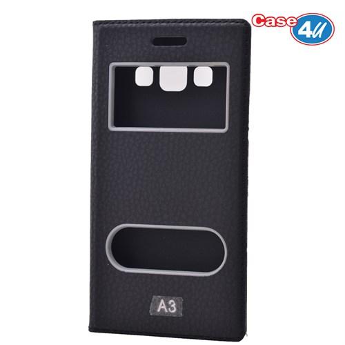 Case 4U Samsung Galaxy A3 Pencereli Kapaklı Kılıf Siyah