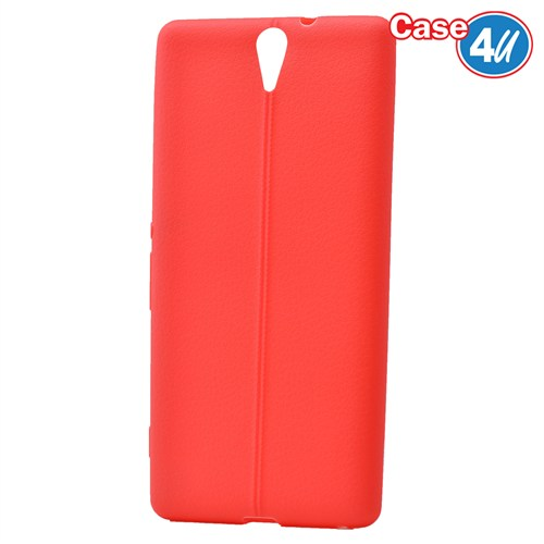 Case 4U Sony Xperia C5 Ultra Desenli Silikon Kılıf Kırmızı