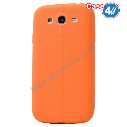 Case 4U Samsung Galaxy J5 Desenli Silikon Kılıf Turuncu