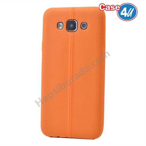 Case 4U Samsung Galaxy E7 Desenli Silikon Kılıf Turuncu