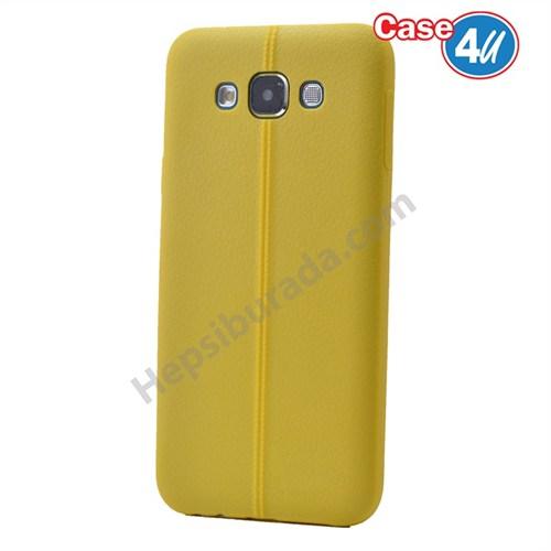 Case 4U Samsung Galaxy E7 Desenli Silikon Kılıf Sarı