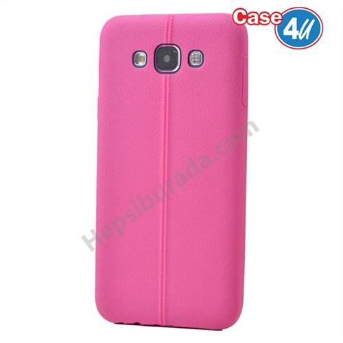Case 4U Samsung Galaxy E7 Desenli Silikon Kılıf Pembe