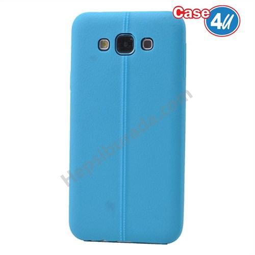 Case 4U Samsung Galaxy E7 Desenli Silikon Kılıf Mavi