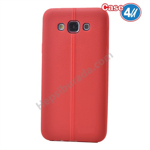 Case 4U Samsung Galaxy E7 Desenli Silikon Kılıf Kırmızı