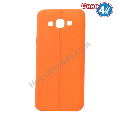 Case 4U Samsung Galaxy A8 Desenli Silikon Kılıf Turuncu