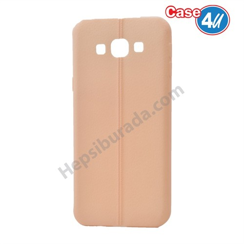 Case 4U Samsung Galaxy A8 Desenli Silikon Kılıf Krem