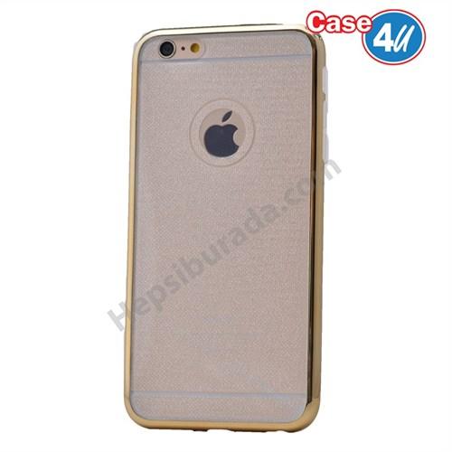 Case 4U Apple İphone 6S Plus Simli Silikon Kılıf Altın