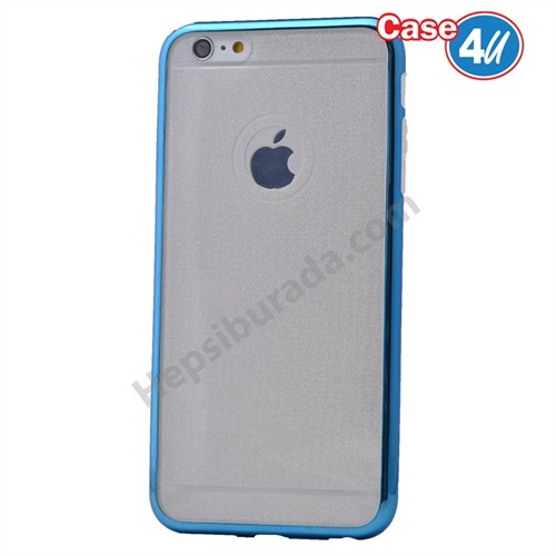 Case 4U Apple İphone 6S Plus Simli Silikon Kılıf Mavi