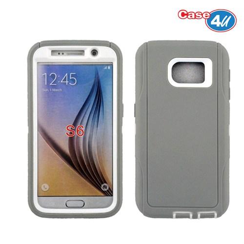 Case 4U Samsung Galaxy S6 Darbeye Dayanıklı Kılıf Gri/Krem