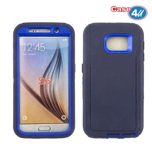 Case 4U Samsung Galaxy S6 Darbeye Dayanıklı Kılıf Lacivert/Mavi